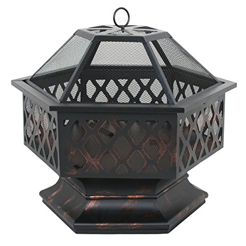 Zeny Fire Pit Hex Shaped Fireplace Outdoor Home Garden ... on Zeny 24 Inch Outdoor Hex Shaped Patio Fire Pit Home Garden Backyard Firepit Bowl Fireplace id=15605