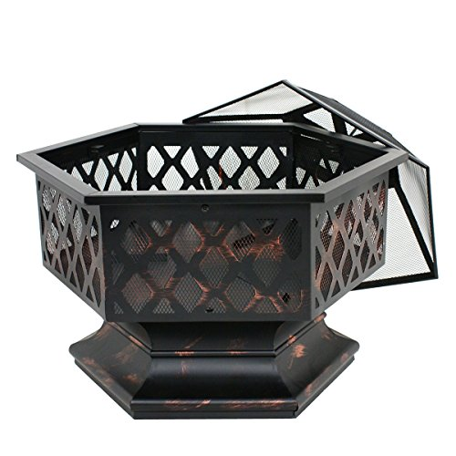 Zeny Fire Pit Hex Shaped Fireplace Outdoor Home Garden ... on Zeny 24 Inch Outdoor Hex Shaped Patio Fire Pit Home Garden Backyard Firepit Bowl Fireplace id=54533